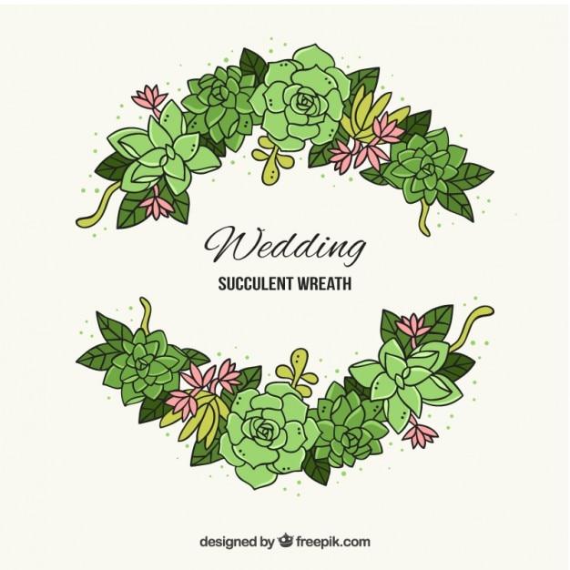 Hand gezeichnet kaktus mit blättern für hochzeitsdekoration Kostenlosen Vektoren