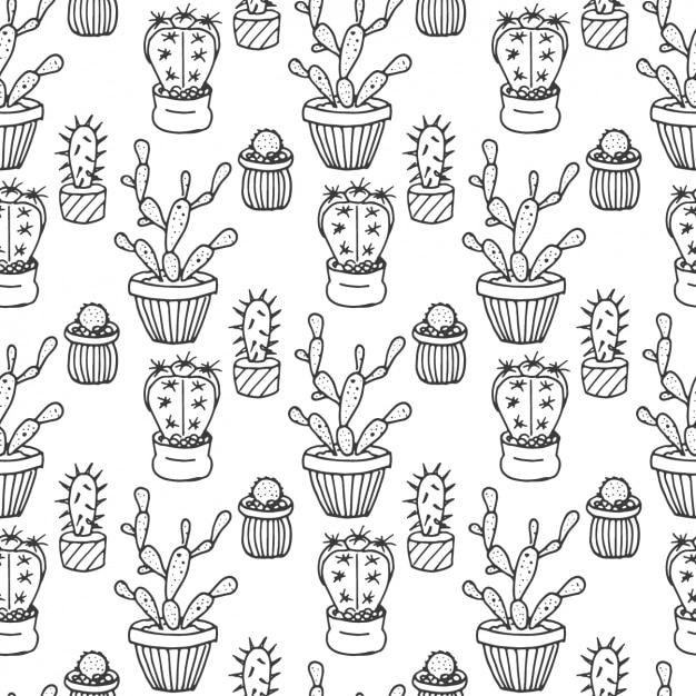 hand gezeichnet kaktus muster download der kostenlosen vektor. Black Bedroom Furniture Sets. Home Design Ideas