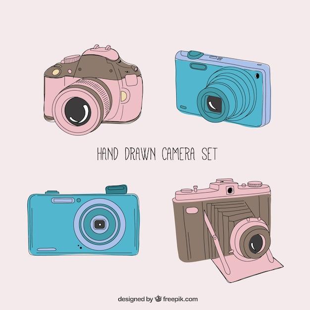 Hand gezeichnet kamera-set Kostenlosen Vektoren
