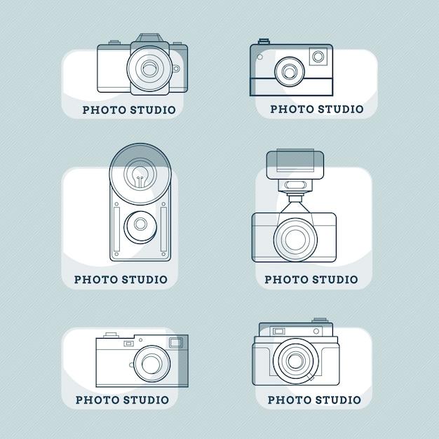 Hand gezeichnet kameras abzeichen Kostenlosen Vektoren