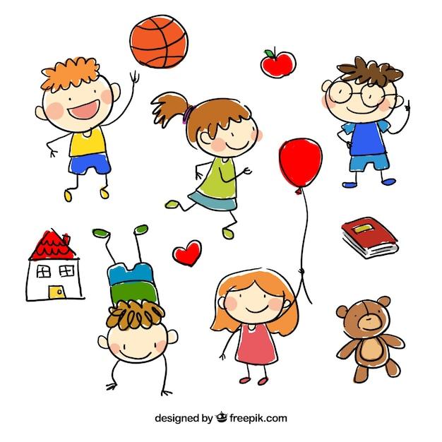 hand gezeichnet kindern cartoons download der premium vektor children playing clipart children playing clip art black and white