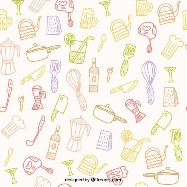 Hand gezeichnet Küche-Tools Muster | Download der kostenlosen Vektor