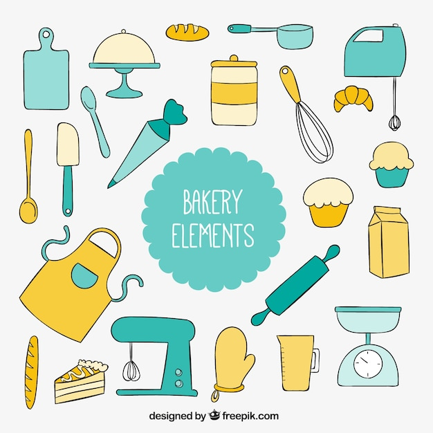 Hand gezeichnet küchengeräte für bäckerei Kostenlosen Vektoren
