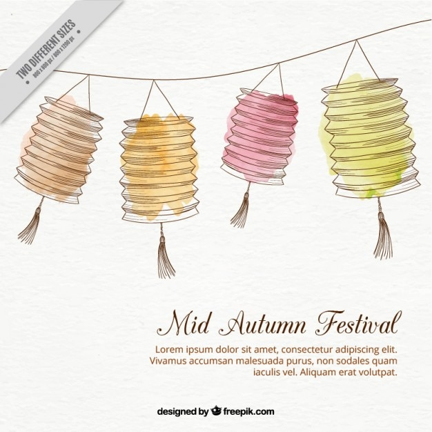 Hand gezeichnet laternen dekoration hintergrund für mitte herbst festival Kostenlosen Vektoren