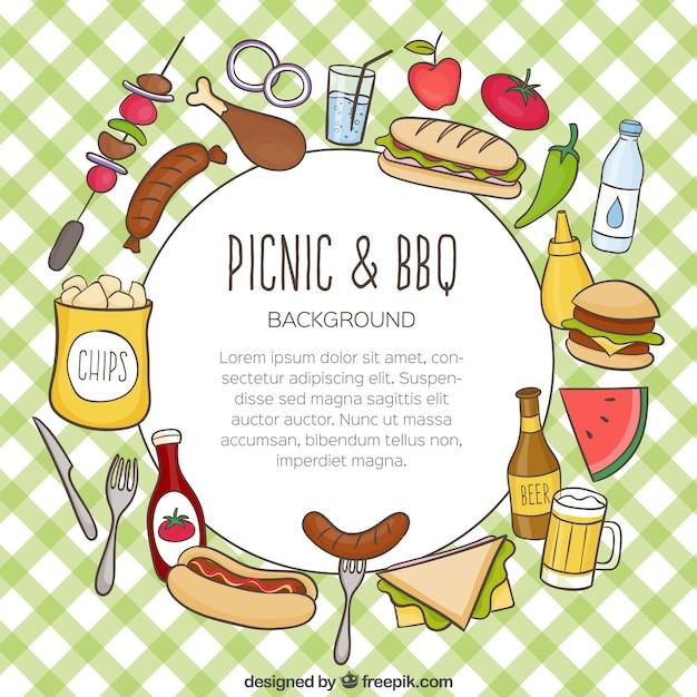 Hand gezeichnet lebensmittel für picknick und barbecue hintergrund Kostenlosen Vektoren