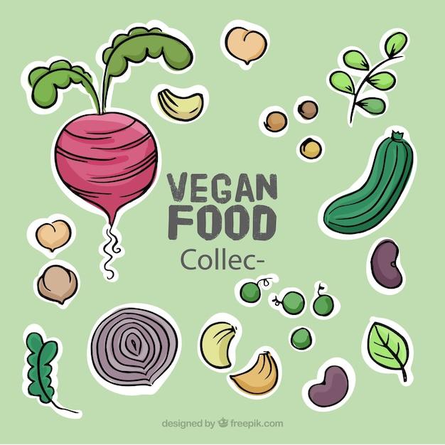 Hand gezeichnet leckere vegane lebensmittel-set Kostenlosen Vektoren