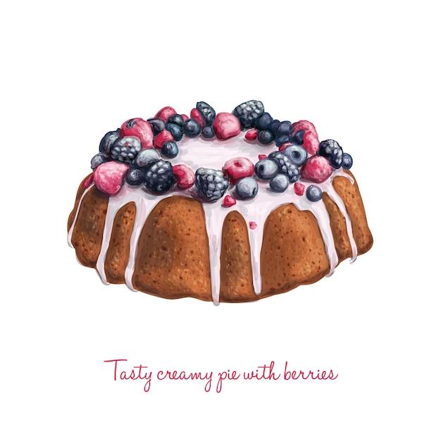 Hand Gezeichnet Leckere Vektor Torte Mit Sahne Und Beeren Download