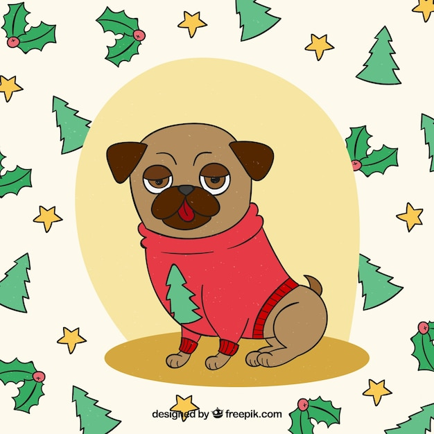 Mops Bilder Weihnachten.Hand Gezeichnet Mops Mit Weihnachten Stil Download Der Kostenlosen
