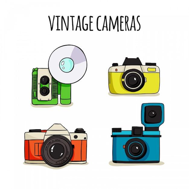 Hand gezeichnet netter polaroid kameras Kostenlosen Vektoren