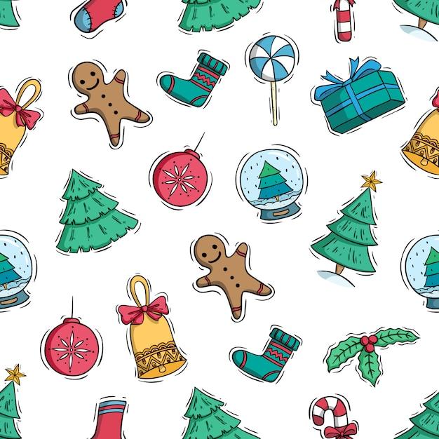 Hand gezeichnet oder gekritzelart von weihnachtselementen im nahtlosen muster Premium Vektoren