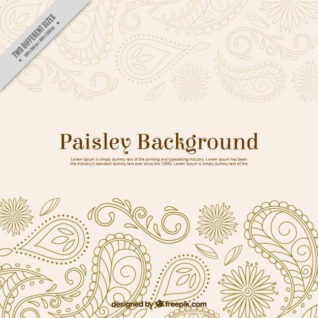 Hand gezeichnet paisley-ornamentalen hintergrund Kostenlosen Vektoren
