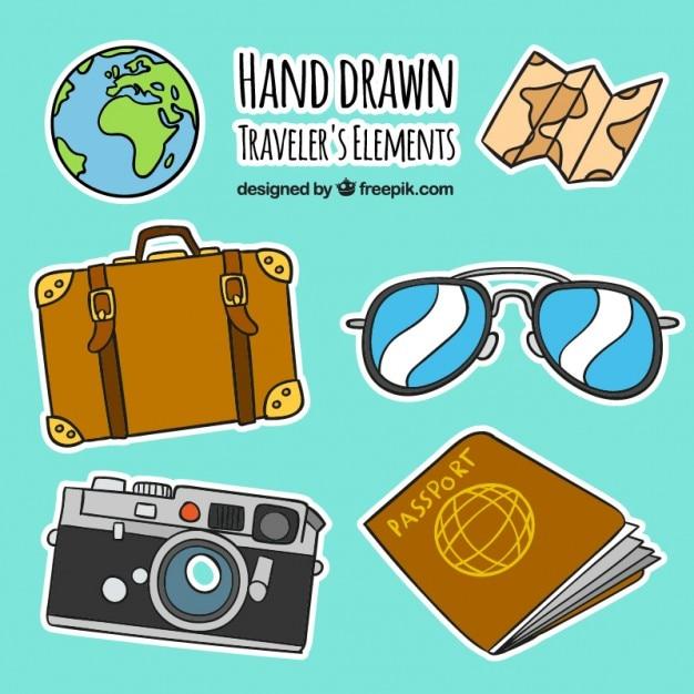 Hand gezeichnet reisende elemente etiketten Kostenlosen Vektoren