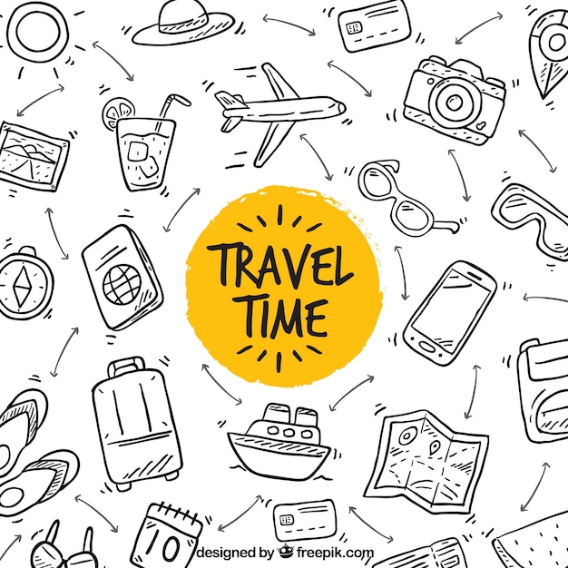 Hand gezeichnet reisezeit hintergrund Kostenlosen Vektoren