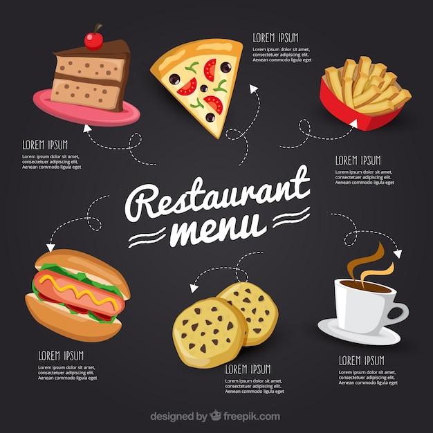 Hand gezeichnet restaurant-menü in tafel Kostenlosen Vektoren