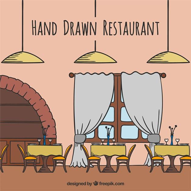 Hand gezeichnet restaurant Kostenlosen Vektoren