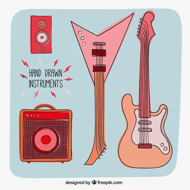 Hand gezeichnet rockinstrumente Kostenlosen Vektoren
