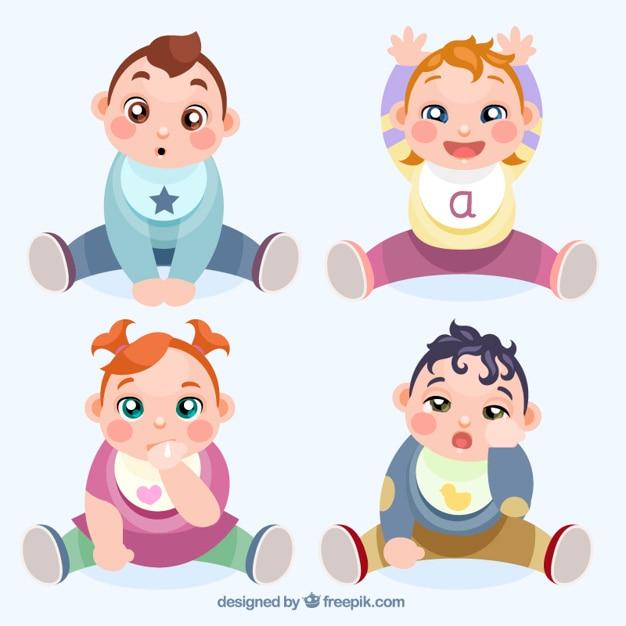 Hand gezeichnet schöne babys warten essen Kostenlosen Vektoren