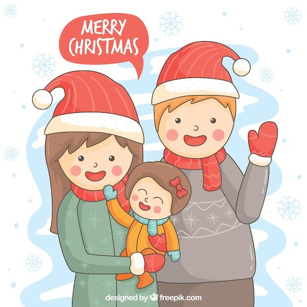Frohe Weihnachten Familie.Hand Gezeichnet Schöne Familie Frohe Weihnachten Hintergrund Mit