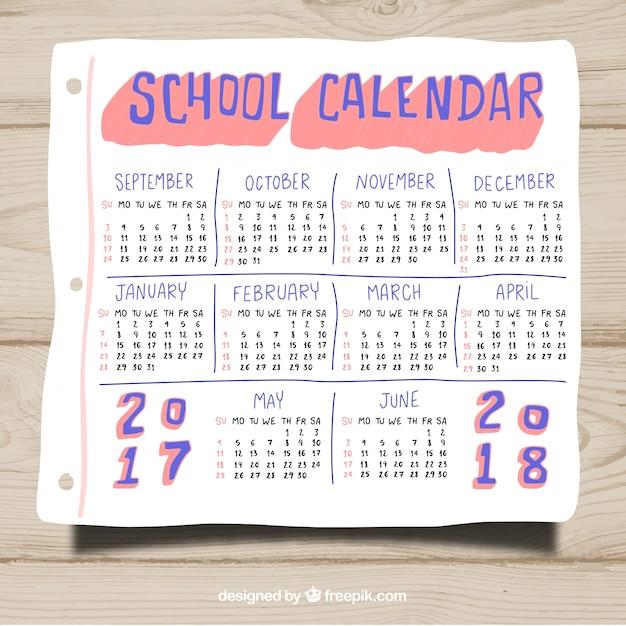 Hand gezeichnet Schule Kalender Vorlage   Download der kostenlosen ...