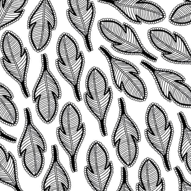 Hand gezeichnet schwarz-weiß-feder hintergrund Kostenlosen Vektoren