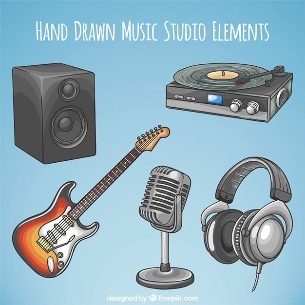 Hand gezeichnet stereo mit e-gitarre Kostenlosen Vektoren