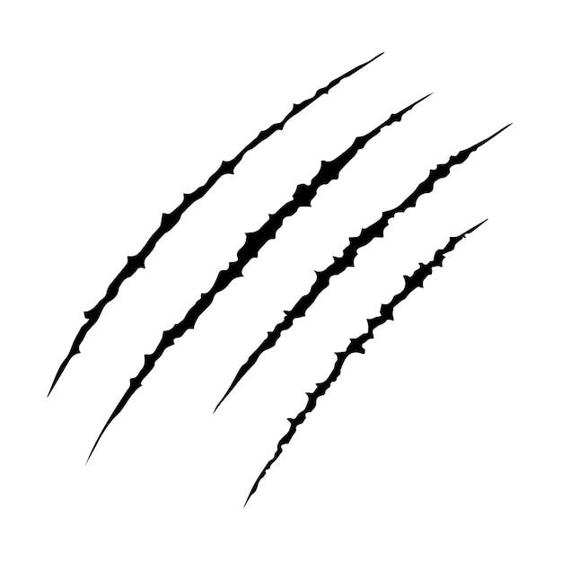 Hand gezeichnet tier klauen kratzer kratzer spur, katze tiger kratzer pfote form, vier nägel spur, illustration vektor isoliert flache design. Premium Vektoren