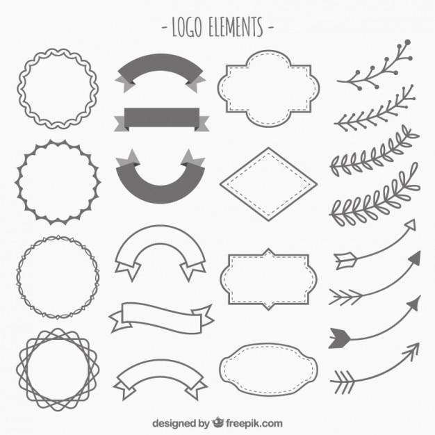 Hand gezeichnet verzierungen für logos Kostenlosen Vektoren