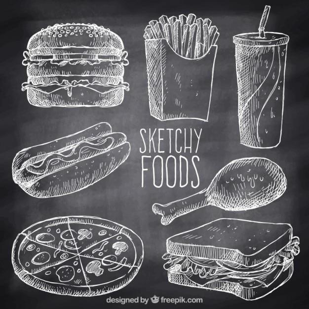 Hand gezeichnet vielzahl von fast-food mit kreide Premium Vektoren