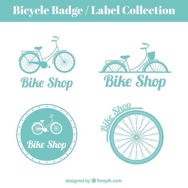 Hand gezeichnet vintage-bikes abzeichen und etiketten Kostenlosen Vektoren