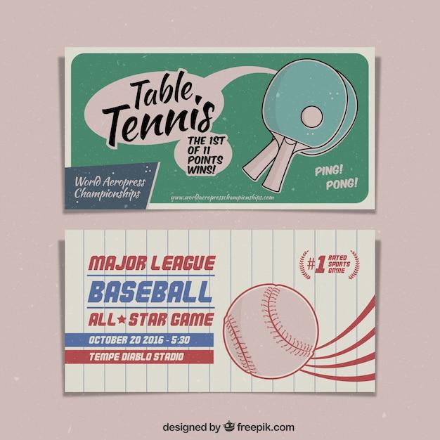 Hand gezeichnet vintage-tischtennis und baseball-banner Kostenlosen Vektoren