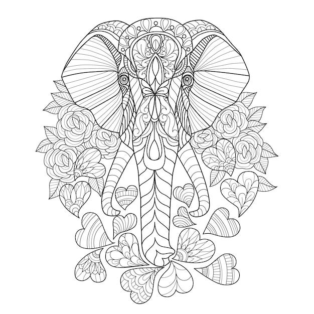 Hand gezeichnet vom elefanten und vom herzen Premium Vektoren