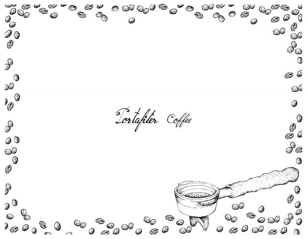 Hand gezeichnet vom filterhalter für kaffeemaschine Premium Vektoren