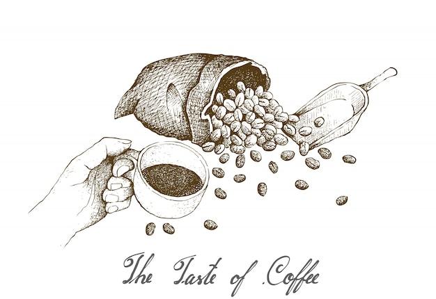 Hand gezeichnet von der hand, die einen heißen kaffee der schale hält Premium Vektoren