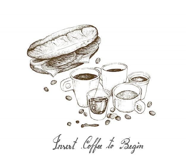 Hand gezeichnet von heißem kaffee mit baguette-sandwich Premium Vektoren