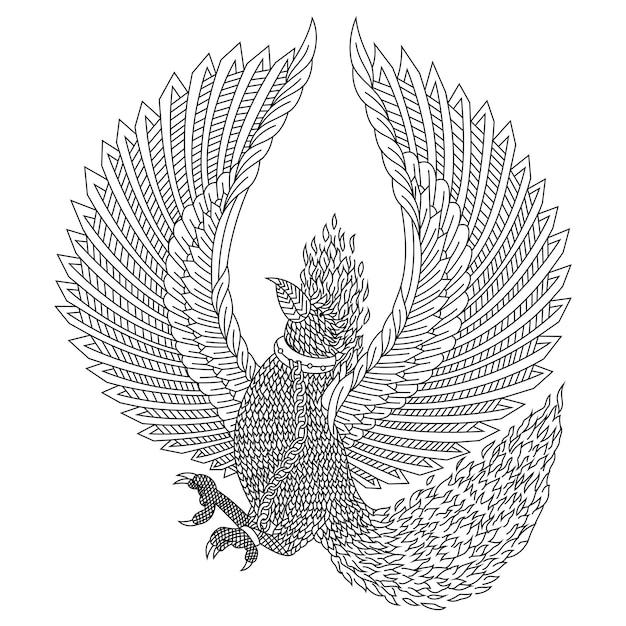 Hand gezeichnet von phönix im zentangle-stil Premium Vektoren