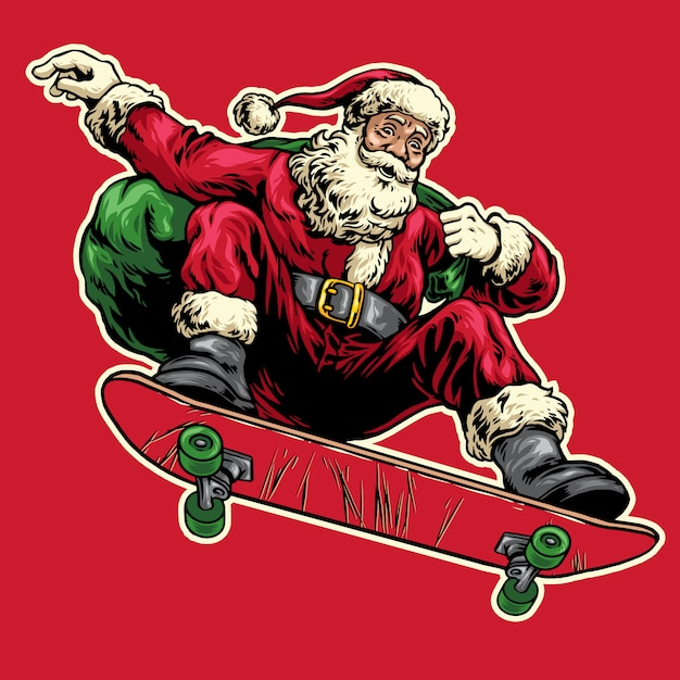 Hand gezeichnet von weihnachtsmann springend auf skateboard Premium Vektoren