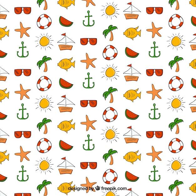 Hand Gezeichnet Wassermelone Und Sommer Elemente Muster | Download Der Kostenlosen Vektor