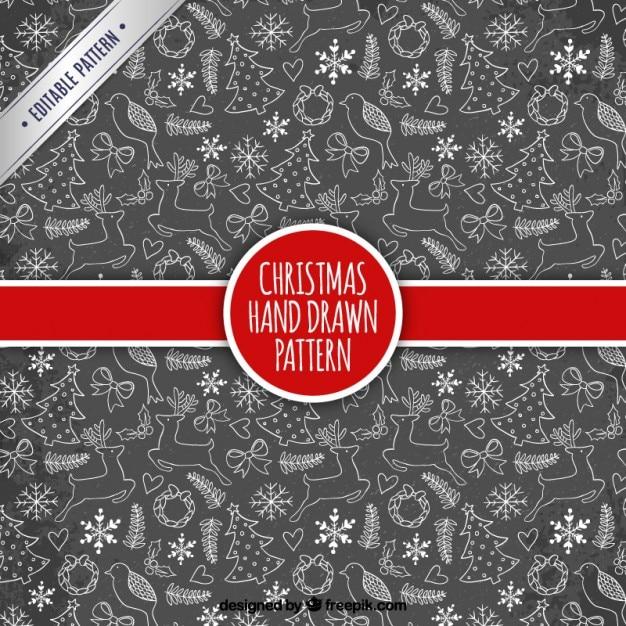 Hand gezeichnet Weihnachten Muster in Tafel Stil   Download der kostenlosen Vektor