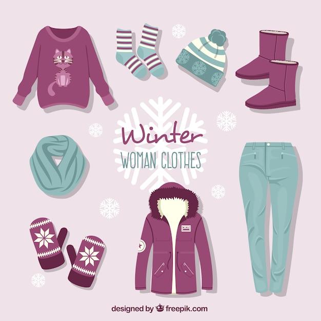 Hand gezeichnet winterkleidung sammlung mit zubehör Kostenlosen Vektoren