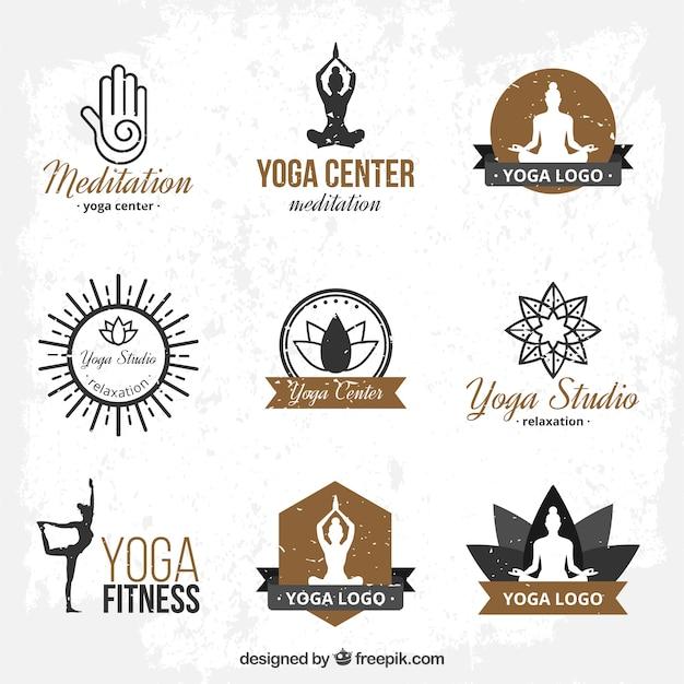 Hand gezeichnet yoga logo-vorlagen Premium Vektoren