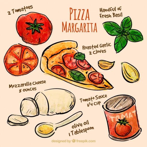 Hand gezeichnet zutaten pizza Kostenlosen Vektoren
