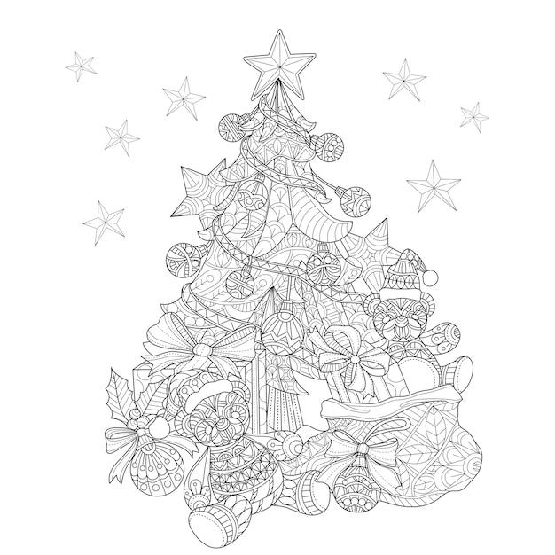 Hand gezeichnete abbildung des weihnachtsbaums Premium Vektoren