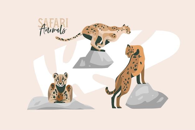 Hand gezeichnete abstrakte flache grafische illustration auf lager Premium Vektoren