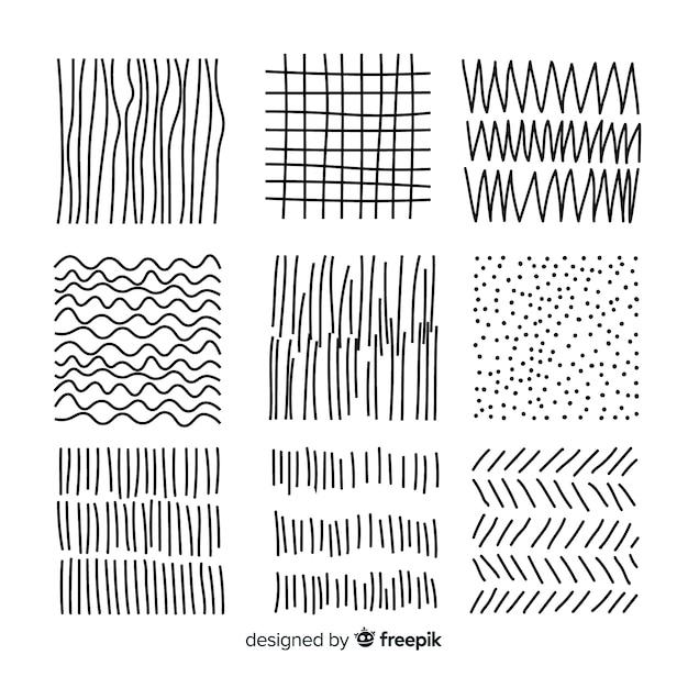 Hand gezeichnete abstrakte formmustersammlung Kostenlosen Vektoren