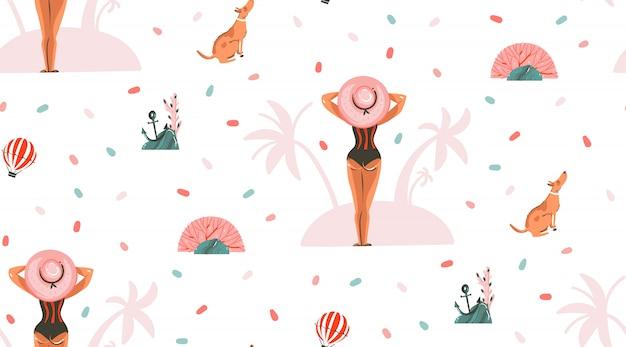 Hand gezeichnete abstrakte grafische karikatur-sommerzeitillustrationen nahtlose muster mit mädchen und hund auf dem sommerstrand auf rosa pastellhintergrund Premium Vektoren