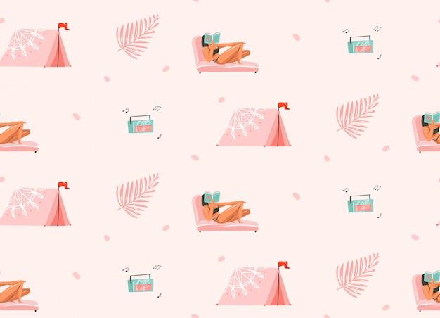 Hand gezeichnete abstrakte grafische karikatur-sommerzeitillustrationen nahtloses muster mit mädchencharakteren entspannen auf dem strand mit campingzelt und plattenspieler auf weißem hintergrund Premium Vektoren