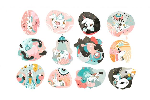 Hand gezeichnete abstrakte grafische kreative karikaturillustration Premium Vektoren