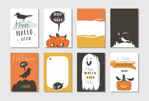 Hand gezeichnete abstrakte karikatur happy halloween illustrationen party poster und sammlungskarten mit raben, fledermäusen, kürbissen und moderner kalligraphie auf weißem hintergrund. Premium Vektoren