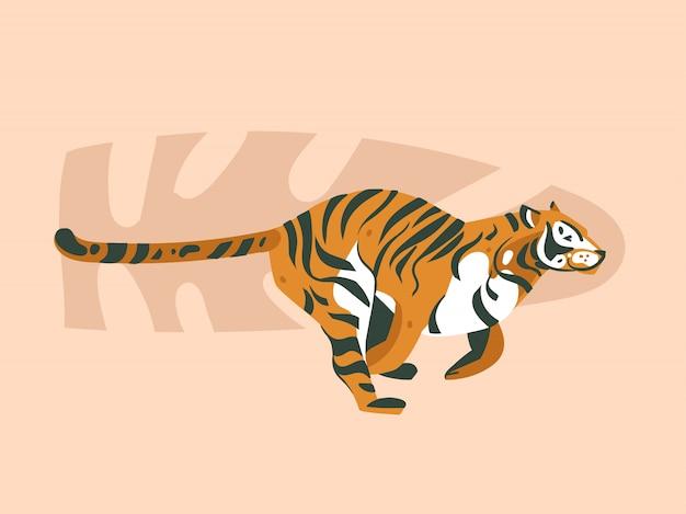 Hand gezeichnete abstrakte karikatur moderne grafik afrikanische safari natur konzept collage illustrationen kunstkarte mit tiger tier und tropische palmblätter isoliert auf pastell farbe hintergrund Premium Vektoren
