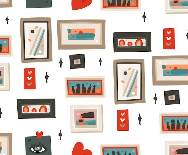 Hand gezeichnete abstrakte karikatur moderne rahmenbilder nahtlose musterillustrationen kunst auf weißem hintergrund Premium Vektoren